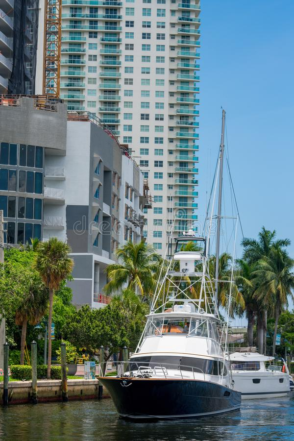 Sport fishing yacht in Fort Lauderdale Tarpon River stock images