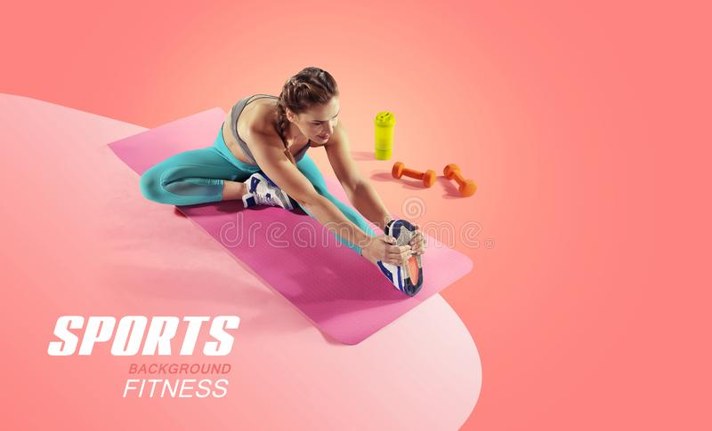 Sport and fitness backgrounds. Stretching. stock photo