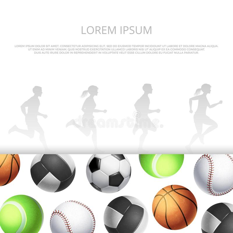 Sport, fitness banner template witn realistic balls and running people silhouettes vector illustration