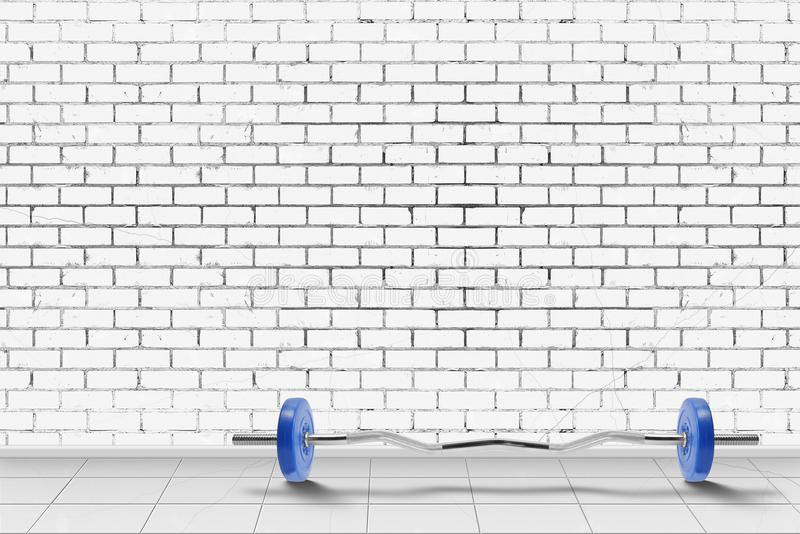 Sport and fitness - Barbell in front of brick wall. Background stock image