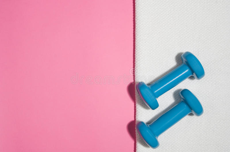 Sport and fitness colourful concept background, top view lay flat royalty free stock image