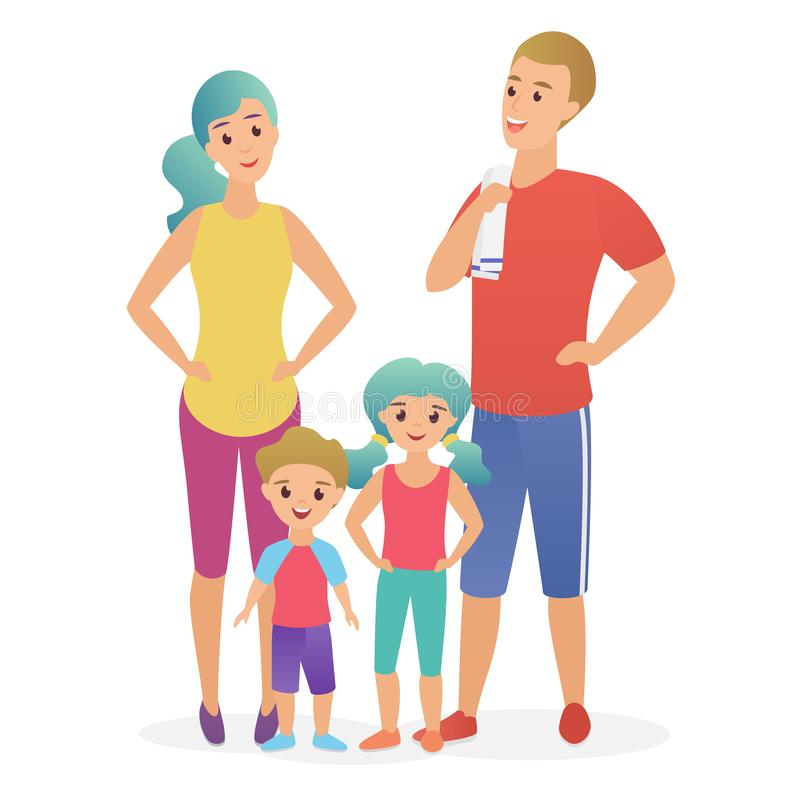 Sport fitness happy family. Dad, mother, son and daughter lead a healthy lifestyle flat vector illustration. stock illustration