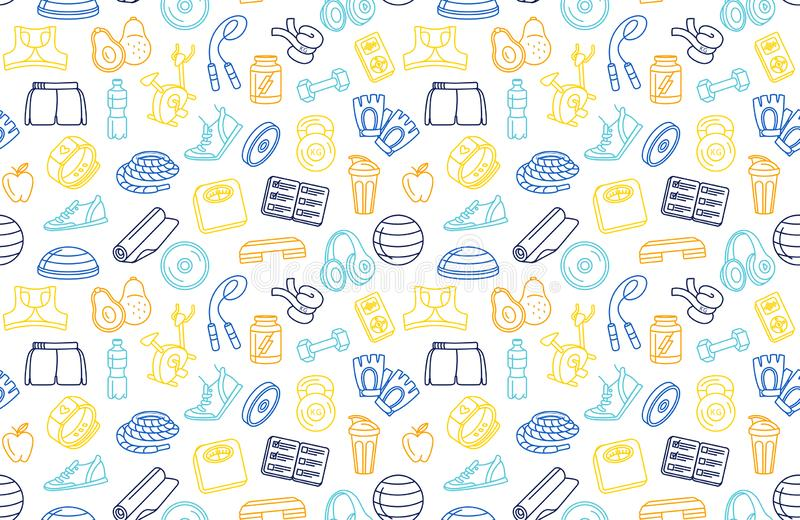Sport, fitness, functional training background seamless doodle icons style pattern vector illustration