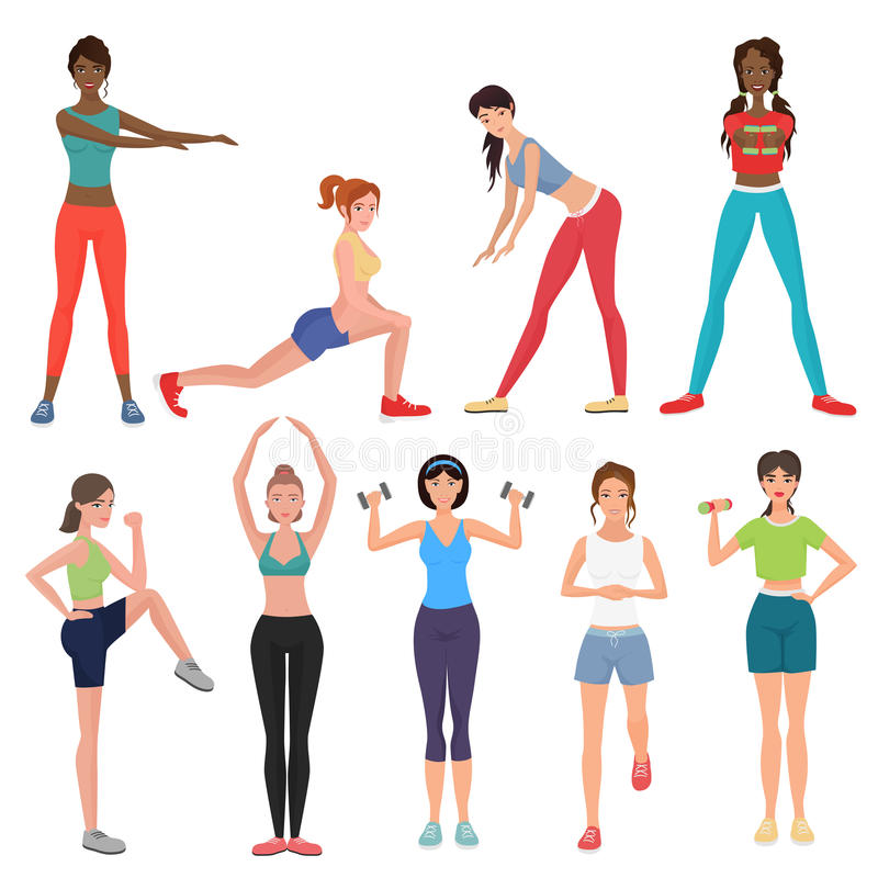 Sport fitness healthy girls set. Women in sportswear with dumbbells, barbells and fitness tools. royalty free illustration
