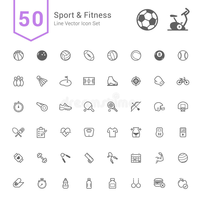 Sport & Fitness Icon Set. 50 Line Vector Icons. stock illustration