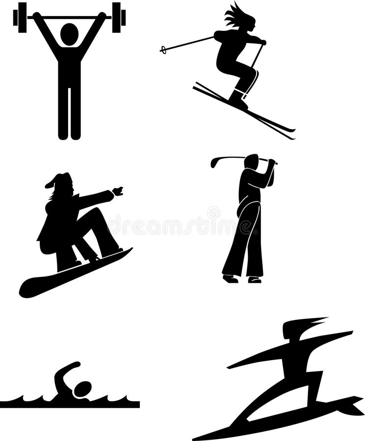 Sport. Fitness icon set, skier, snowboarder, golfer, swimmer and surf vector illustration