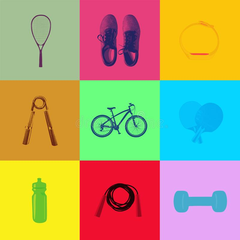 Sport and fitness icons on pop art duotone background royalty free illustration
