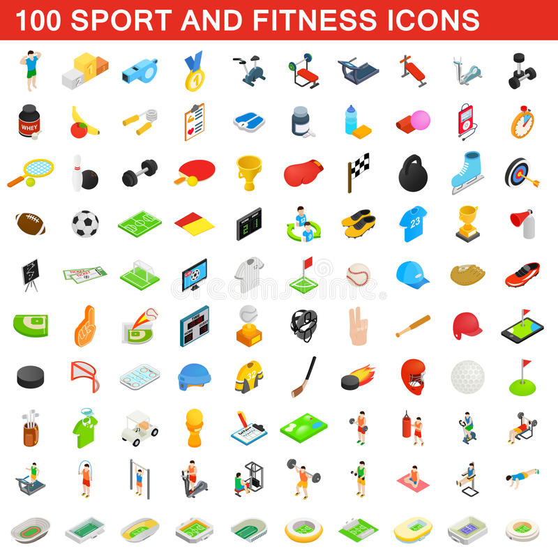 100 sport and fitness icons set, isometric style vector illustration