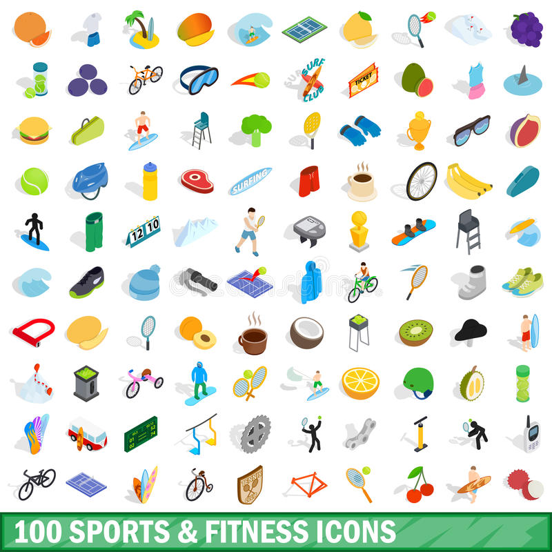 100 sport and fitness icons set, isometric style royalty free illustration