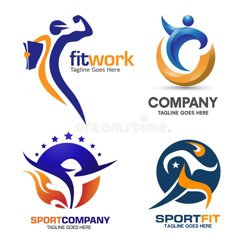 Sport and fitness logo set. Health human - vector logo concept illustration. Human character creative sign. Sport fitness logo icon royalty free illustration