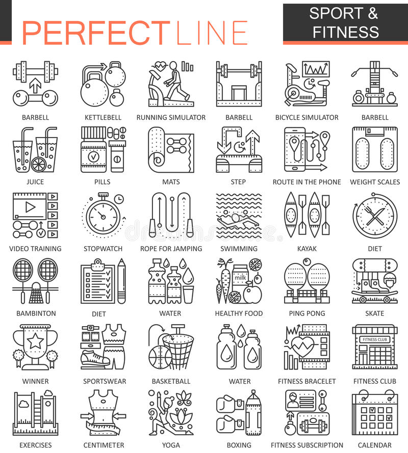 Sport and fitness outline concept symbols. Perfect thin line icons. Modern linear style illustrations set. stock illustration