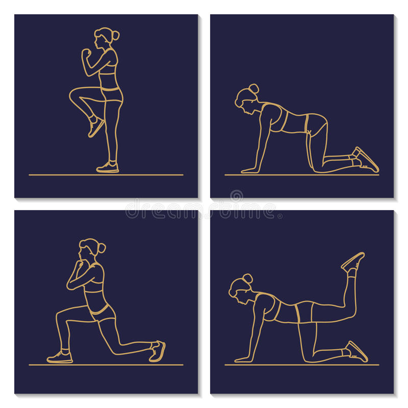 Sport fitness woman exercise workout silhouettes. stock illustration