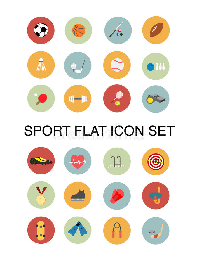 Sport flat icons. Sport icons in flat design style royalty free illustration