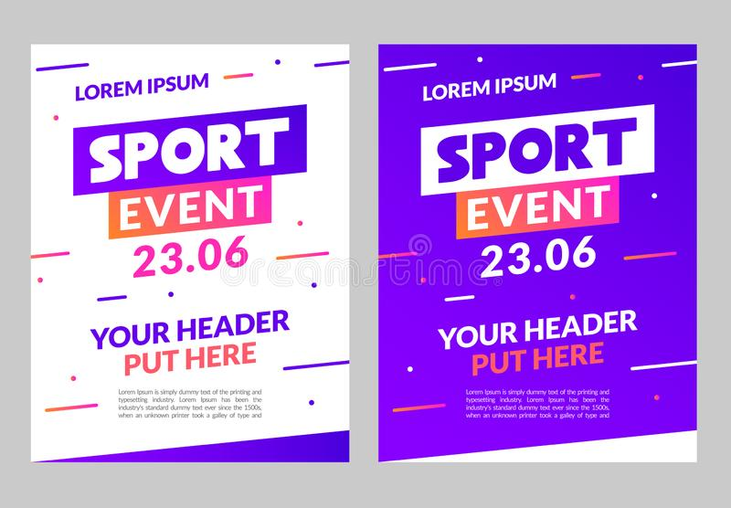 Sport flyer design banner poster. Sport event template brochure for match championship promotion.  royalty free illustration