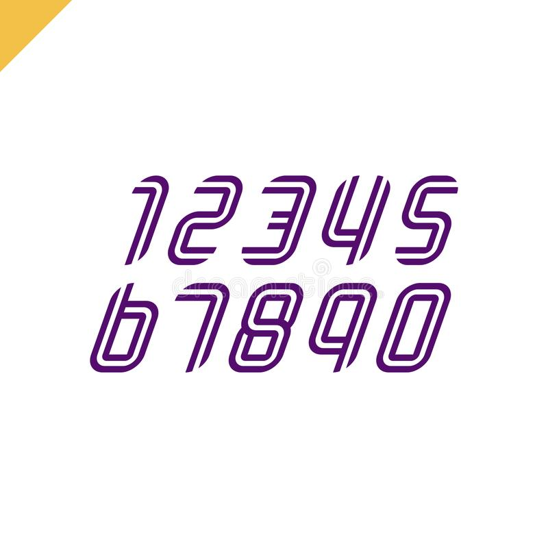 Sport Font Numbers set logos formed by parallel lines. Vector design for banner, presentation, web page, card, labels or posters. stock illustration