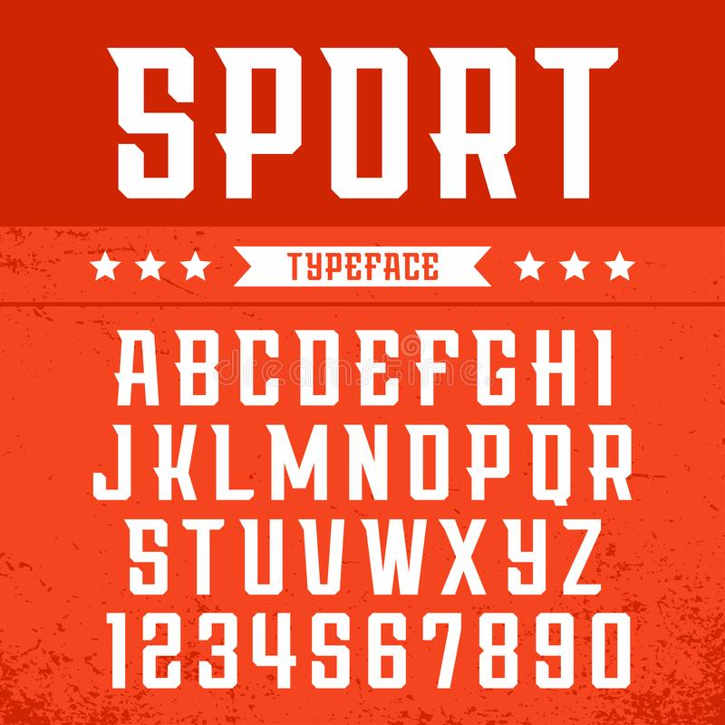 Sport font. Vector alphabet with latin letters and numbers vector illustration