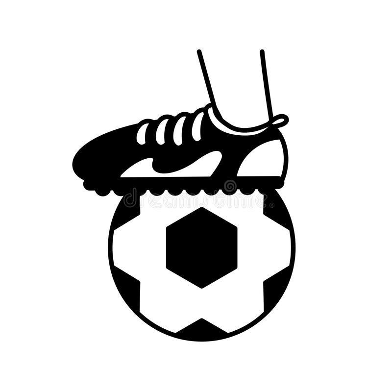 Sport foot with ball soccer block line style vector illustration
