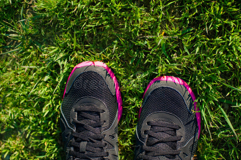 Sport Footwear on Female Feet on Green Grass. Closeup Running Shoes. royalty free stock photography