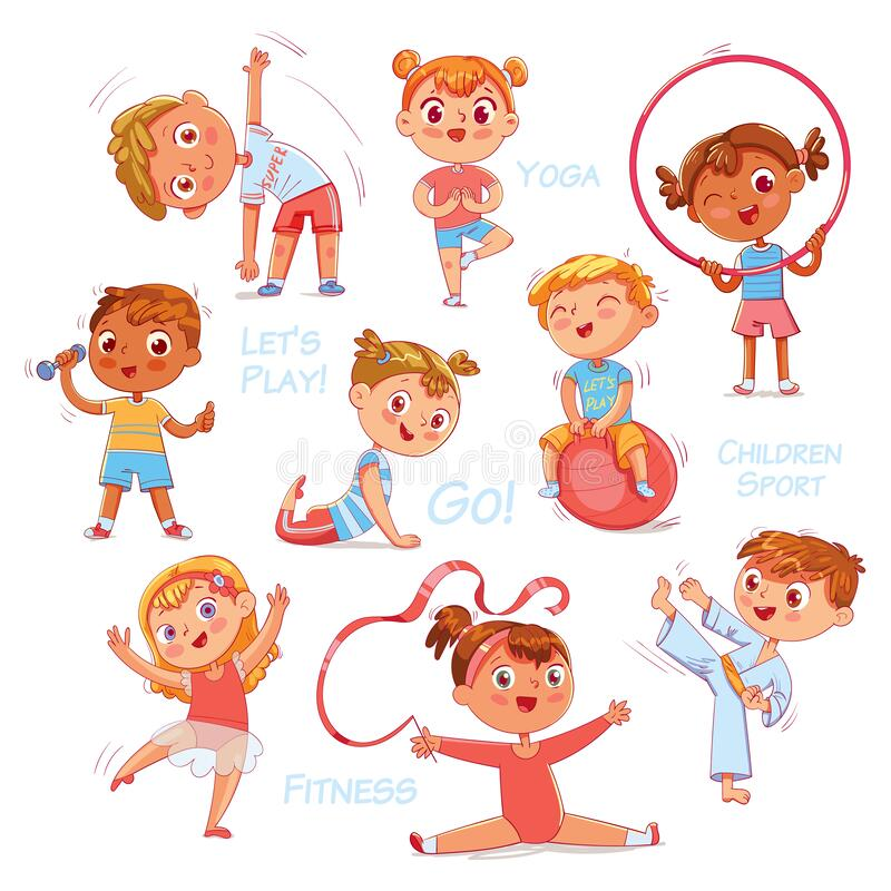 Free Sport For Kids. Physical Training, Fitness, Karate, Yoga, Aerobics, Gymnastics, Dancing. Isolated Royalty Free Stock Photos - 188906238