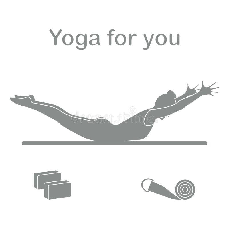 sport Frau in der Yogahaltung, Blöcke, Gurt für Yoga stock abbildung