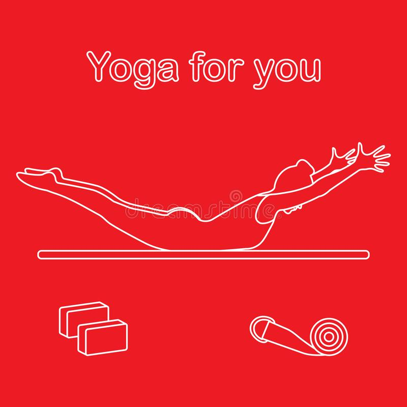 sport Frau in der Yogahaltung, Blöcke, Gurt für Yoga lizenzfreie abbildung