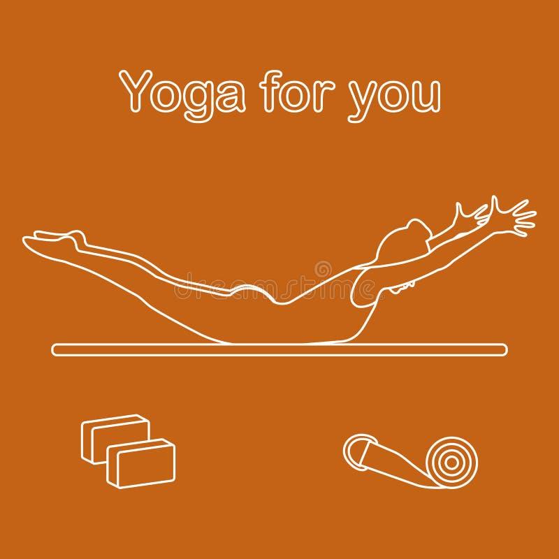 sport Frau in der Yogahaltung, Bl?cke, Gurt f?r Yoga stock abbildung
