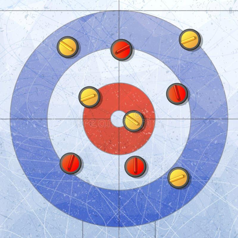 sport Fryzować kamienie na lodzie Fryzować dom Boisko dla fryzować sport grę Rewolucjonistki i koloru żółtego kamienie Tekstury b ilustracji