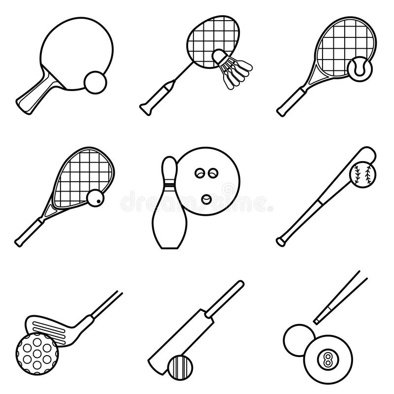 Vector Drawing Lines Game : Sport game line drawing icon set stock vector image
