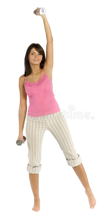 Sport geklede opleidende vrouw stock fotografie