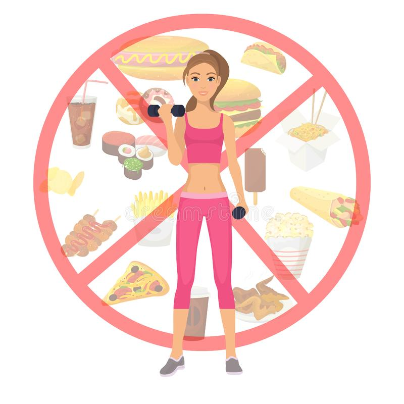 Sport girl and fast food unhealthy lifestyle restriction vector illustration. Healthy girls fit body standing on royalty free illustration