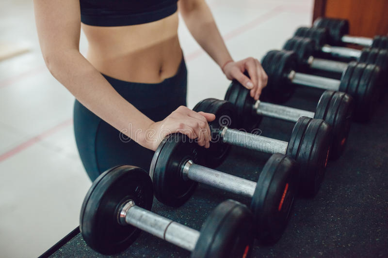 Sport girl is preparing for the exercise with dumbbells stock photography