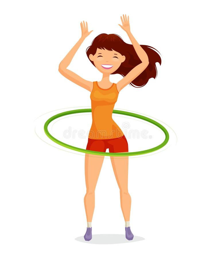 Sport girl turns the hula hoop. Fitness, healthy lifestyle concept. Funny cartoon vector illustration. Isolated on white background stock illustration