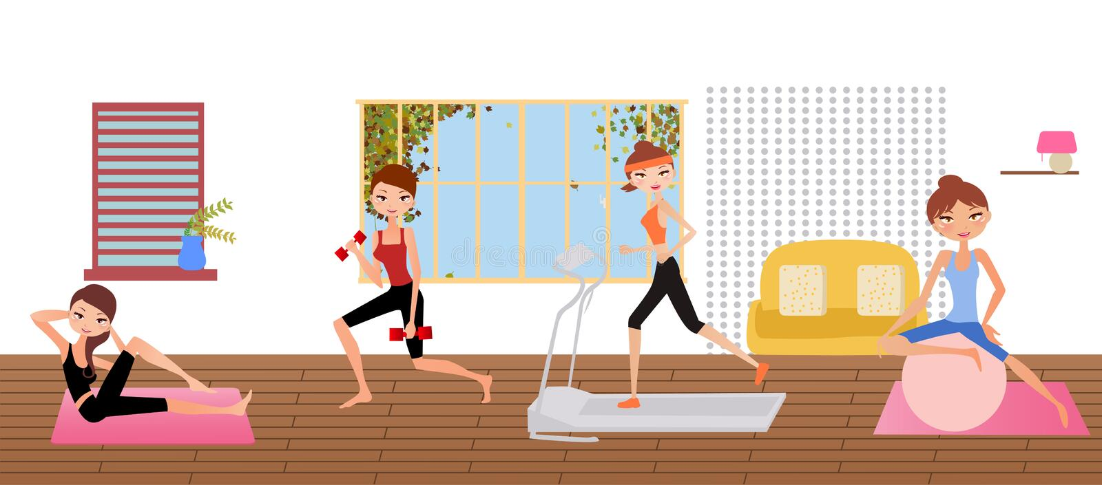 Download Sport girls stock vector. Image of tracing, yoga, club - 27844316