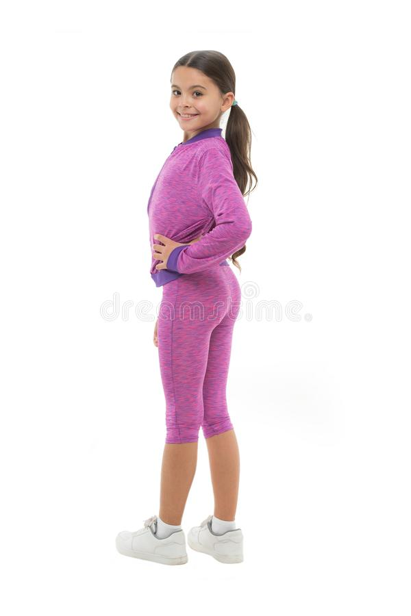 Sport for girls. Guidance on working out with long hair. Deal with long hair while exercising. Girl cute kid with long. Ponytails wear sportive costume isolated royalty free stock photos