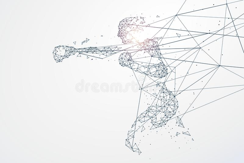 Sport grafika cząsteczki, sieć związek obracający w ilustracji