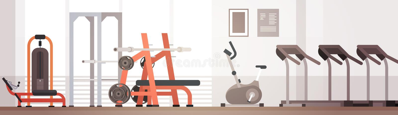 Sport Gym Interior Workout Equipment Copy Space. Flat Vector Illustration vector illustration