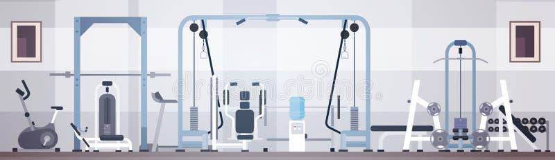 Sport Gym Interior Workout Equipment Copy Space. Flat Vector Illustration stock illustration