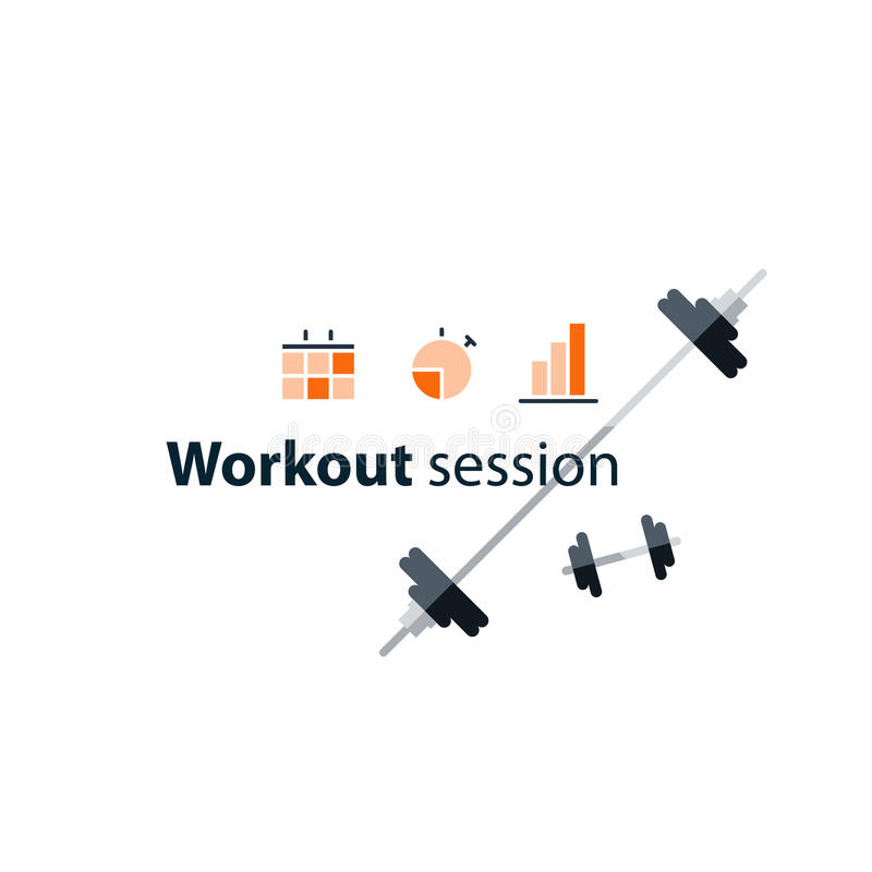 Sport gym workout session banner with icons. Workout session, exercises in gym, fitness time, barbell push-ups, sport event, vector illustration royalty free illustration