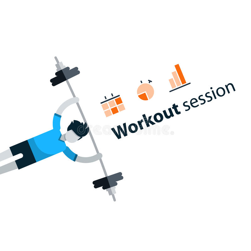 Sport gym workout session banner with icons. Workout session, exercises in gym, fitness time, barbell push-ups, vector illustration royalty free illustration