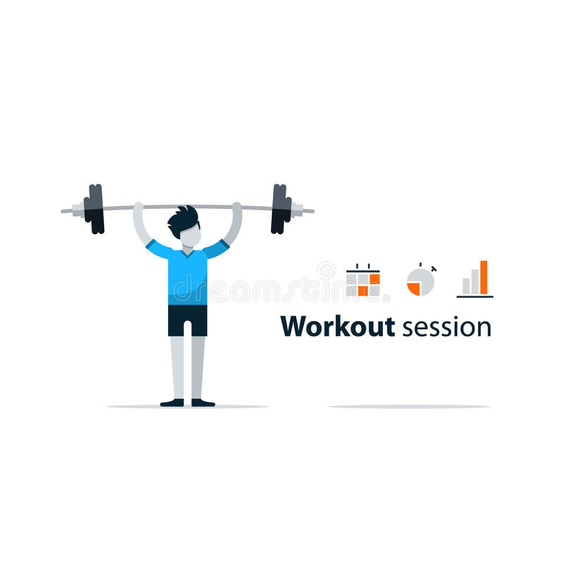 Sport gym workout session, person with barbell. Workout session, exercises in gym, fitness time, barbell push-ups, isolated on white, sport concept, vector stock illustration