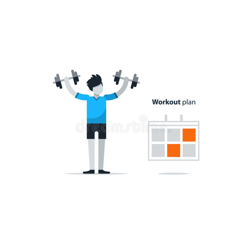 Sport gym workout session, person with dumbbells. Workout session, daily exercises, fitness time, dumbbell push-ups, vector illustration vector illustration