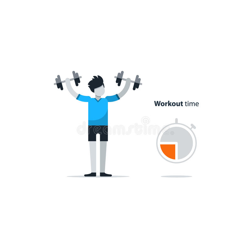 Sport gym workout session, person with dumbbells. Workout session, daily exercises, fitness time, dumbbell push-ups, vector illustration royalty free illustration