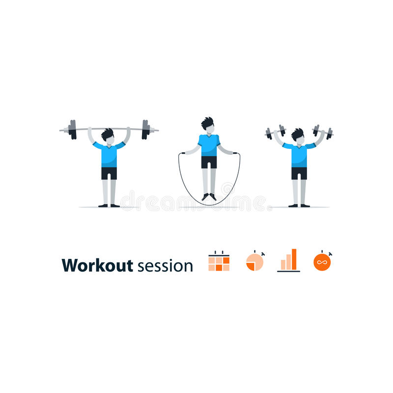 Sport gym workout session set of people. Workout session, daily exercises, fitness time, dumbbell push-ups, vector illustration stock illustration