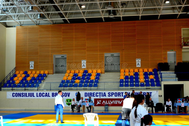 Sport Hall for Kids Judo Cup 2016. The National contest Kids Judo Cup 2016 in Brasov royalty free stock photos