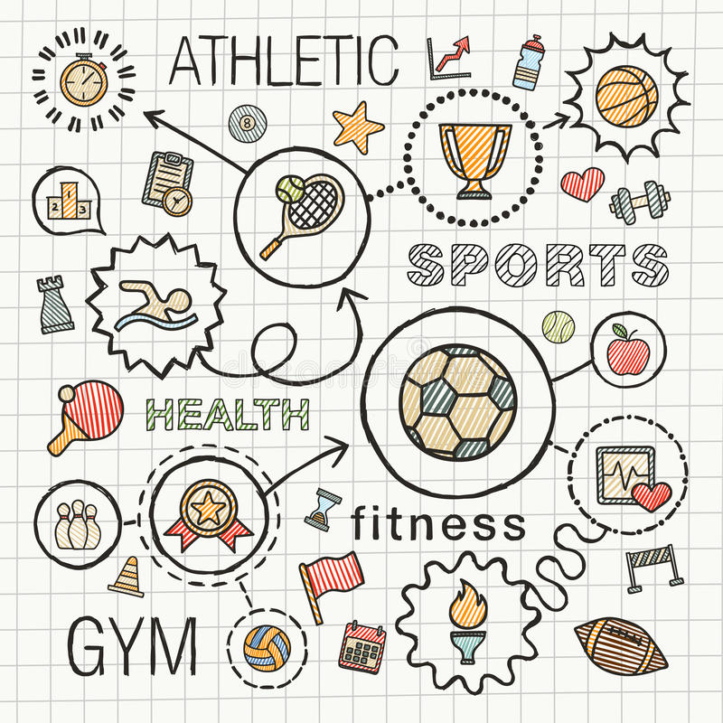 Sport hand draw integrated color icons set. royalty free illustration