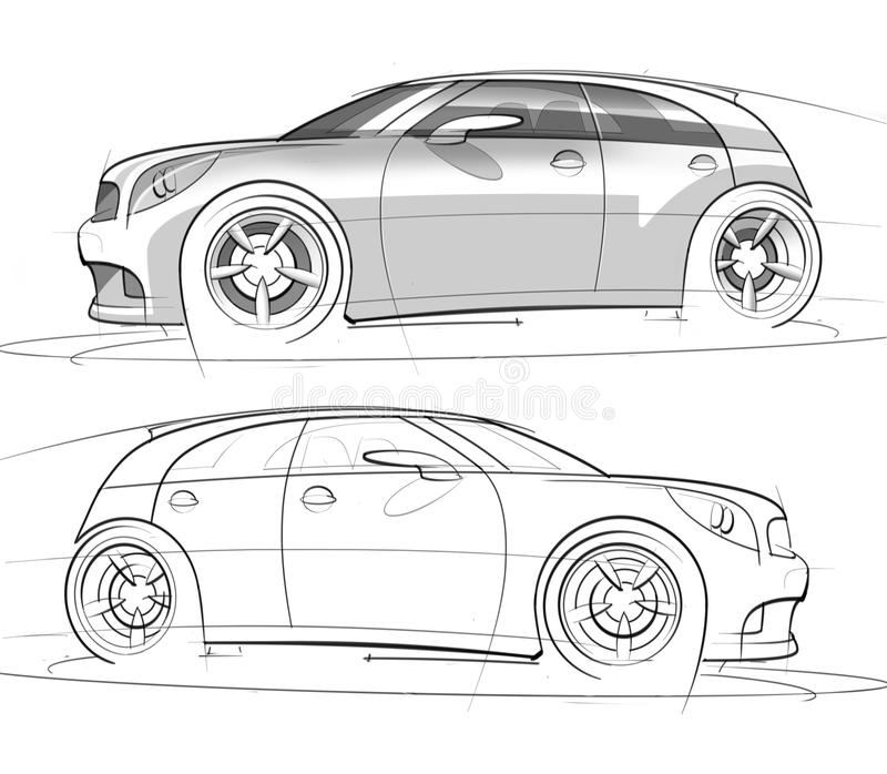Sport Hatchback Sketch and Rendering stock photo