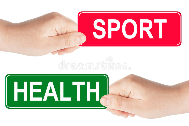Sport And Health Traffic Sign In The Hand Stock ...