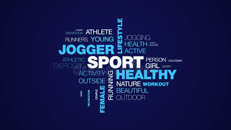 Sport healthy jogger lifestyle fit fitness jog exercise runner female people animated word cloud background in uhd 4k. 3840 2160 vector illustration