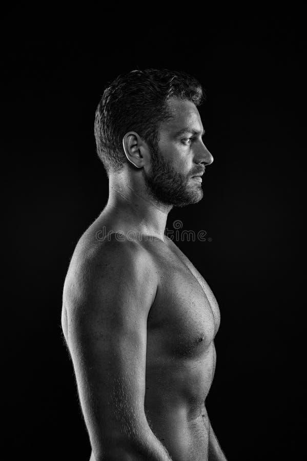 Sport het bodybuilding en fitness concept Gebaarde mensenatleet met geschikt torso in profiel Sportman met spierborst en buik BO stock afbeeldingen