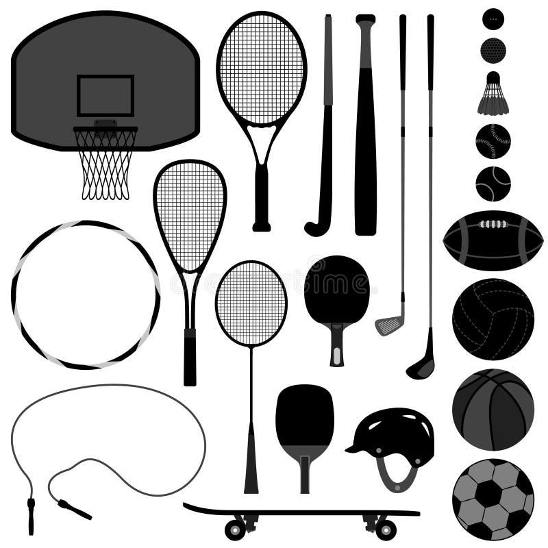 Sport-Hilfsmittel-Basketball-Tennis-Baseball-Volleyball G vektor abbildung